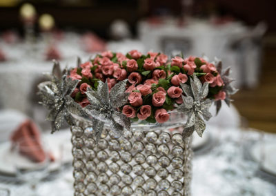 Wedding - pink and silver - table decor details