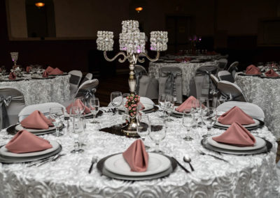 Wedding - pink and silver - table decor